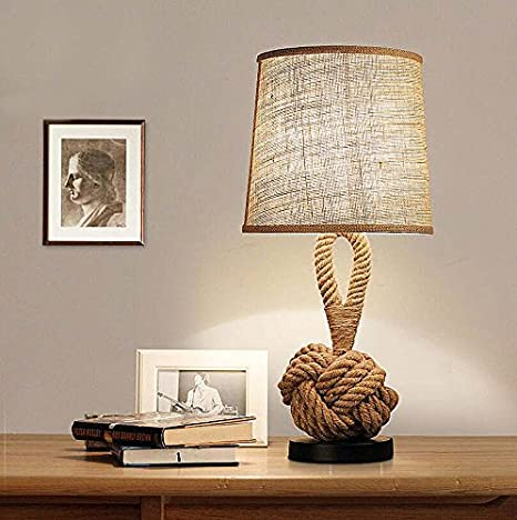 ZLMC Bedroom Table Lamp LED Lamp Eye Shade Creative Personality Cafe Cloth Rope  Lamp Decoration