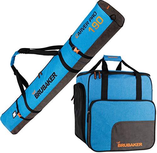BRUBAKER Combo Set Carver Performance - Ski Bag and Ski Boot Bag for 1 Pair of Skis + Poles + Boots + Helmet - Blue Black - 74 3/4 Inches -