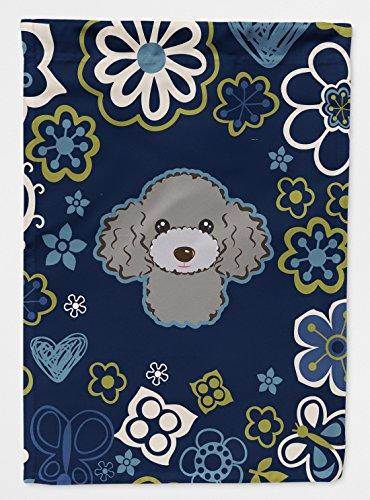 Caroline's Treasures BB5110GF Blue Flowers Silver Gray Poodle Flag Garden Size , Small, multicolor (Poodle Size)