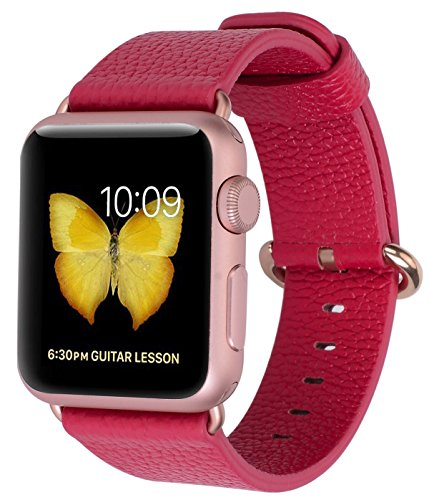 Apple Watch Band 38mm Women - JSGJMY Red Genuine Leather Loop with Rose Gold Metal Clasp for iWatch Series 3/Series 2/Series 1/Edition/Sport(Red+Rose gold Buckle)