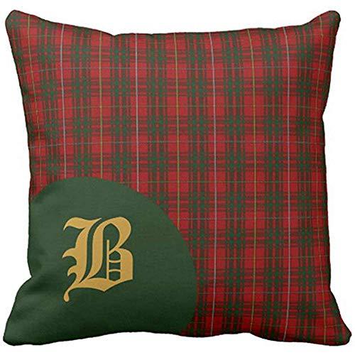 Anmbsk Throw Pillow Cover Classic Scottish Bruce Clan Tartan Plaid Monogram Decorative Pillow Case Green Home Decor Square 18 x 18 Inch Cushion Pillowcase ()