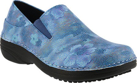 Nevada Leather (Spring Step Women's Ferrara Work Shoe,Blue Mosaic Print Faux Leather,8.5 B(M) US)