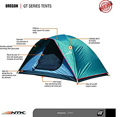 NTK OREGON GT 8 to 9 Person 10 by 12 Foot Sport Family Camping Dome Tent 100% Waterproof 2500mm