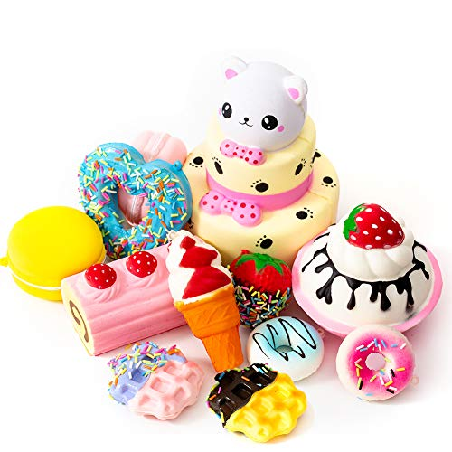 SYYISA Jumbo Squishies Slow Rising [12-Pack]: Bear Cake, Ice Cream, Donut, Macaron, Starawberry Cake, and Waffles Kawaii Soft Food Squishy Toys - Squishys are Great Sensory Toys for Kids! Comes in Mix -