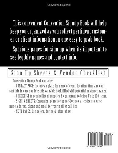 convention signup book book of signup sheets for convention vendors