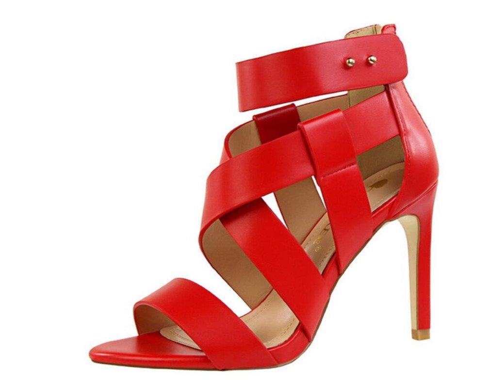 LUCKY ROAD High Heels Sandaletten Frauen-Klassische Gericht Schuhe Stiletto Pumps MultiFarbe Schuhe EU37-40 rot EU37