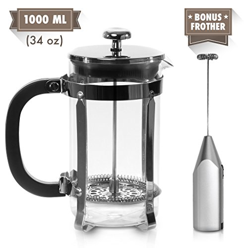 French Press Coffee Maker and Electric Milk Frother Set | Clear Strong Borosilicate Glass Tea & Coffee Brewer with Bonus Milk Frother | 34 Oz (1 Liter) | by Zell
