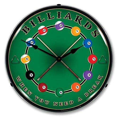 Lighted Billiards Clock Profile - lighted wall clocks