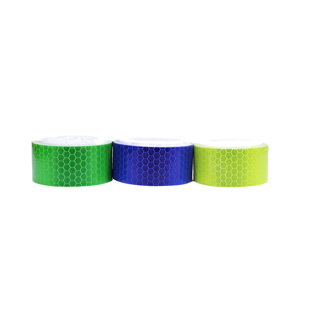 3Pcs 2.5cmx2.5m Honeycomb Self-Adhesive Safety refelctive Tape Warning Tape Reflector Tape Security Marking Tape Waterproof for car/Trailers/Truck/Traffic/Construction site(Light-Green,Blue,Green)
