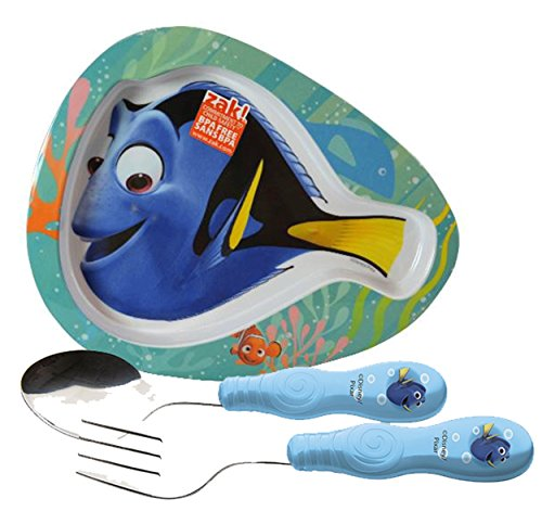 Zak! Designs Kids Finding Dory Fish Shaped Plate & Fork & Spoon Flatware Set! BPA-free, 3 Piece Set