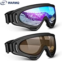 2-Pack Warmq UV 400 Protection Anti-Fog Ski Goggles (Multicolor and Brown)
