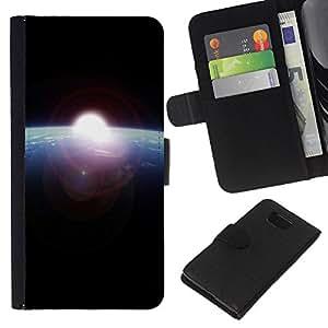 EJOY---La carpeta del tirón la caja de cuero de alta calidad de la PU Caso protector / Samsung ALPHA G850 / --Amanecer desde el espacio