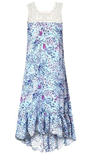 Smukke Big Girls Tween Vintage Lace Hi Low Knee Length Dresses (Many Options), 7-16 (Aqua Multi, 12)