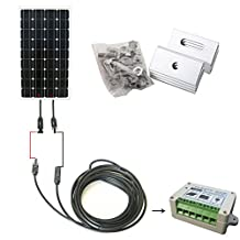 ECO-WORTHY 160W Monocrystalline 12v Off Grid Battery Charging Solar Panel Kit: 1pc 160W Mono Solar Panels+15A Charge Controller+ MC4 Connector with Solar Cable+Mounting Z Brackets