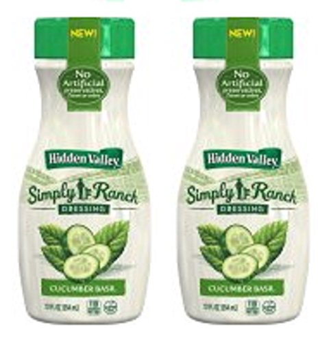 Hidden Valley Simply Ranch Salad Dressing, Cucumber Basil, 12 Ounce Bottle (Pack of 2)