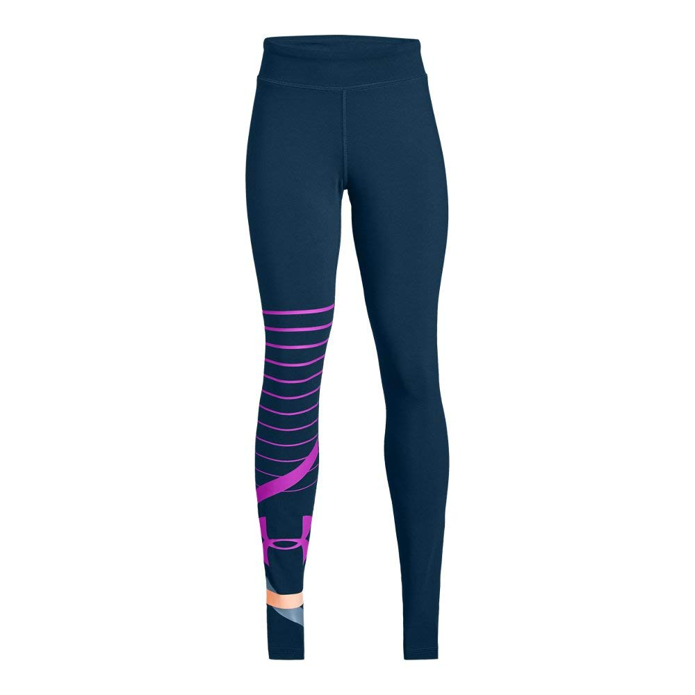 Under Armour Girls Finale Knit Legging, Techno Teal (489)/Fluo Fuchsia, Youth Medium by Under Armour