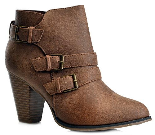Mall Ankle Titan Buckle Women's Booties Tan New Forever Heel Strap Block BxpndRp