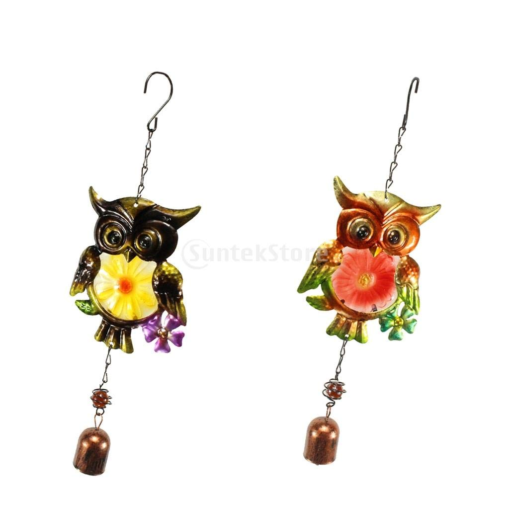 Flameer 2Pcs Metal Wind Chime Owl Wind Chimes Garden Decor Suncatcher Gift