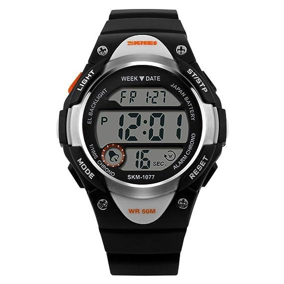 Novedad Reloj Digital para niños Deportes al Aire Libre Reloj Impermeable para niños Reloj de Pulsera con LED Alarma Digital Cronómetro Ligero Silicona: ...