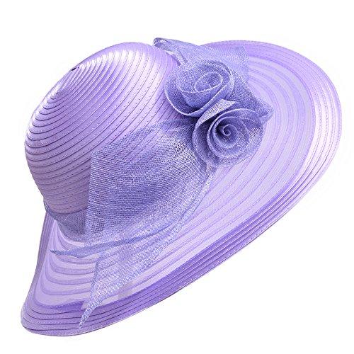 Lawliet Women Solid Color Sinamay Wide Brim Sun Hat Dress Flower Bow A435