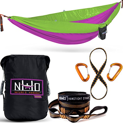 Double Camping Hammock - Portable Two Person Parachute Hammock for Outdoor Hanging. Heavy Duty & Lightweight, Best for Backpacking & Travel. Meadow Edition (Magenta/Light Green)