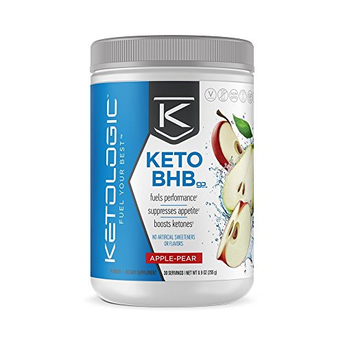 KetoLogic BHB – Keto Supplement – Suppresses Appetite / Increases Energy / Low Carb / Electrolytes / Beta-Hydroxybutyrate Salts  – Apple-Pear, 30 Servings