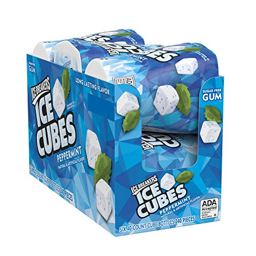 Ice Breakers Ice Cubes Sugar Free Gum with Xylitol, Peppermint, 40 Piece (Pack of 6) ()
