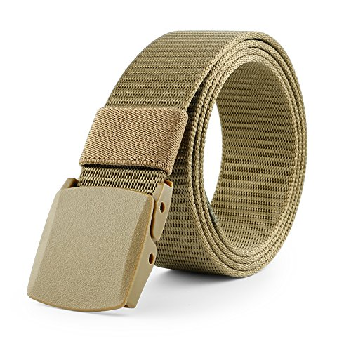 Buckle Khaki (JasGood Nylon Canvas Survival Military Tactical Style Emergency Fire Rescue Rigger Webbing Men Waist Belt With Plastic Buckle)