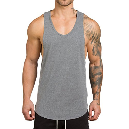 Magiftbox Men's Muscle Gym Workout Stringer Tank Tops Bodybuilding Fitness T-Shirts T01_Light-Gray_US-M
