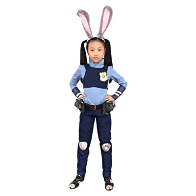 DAZCOS Children's Bunny Judy Hopps Cosplay Costume with Ears Tail Badge: Clothing