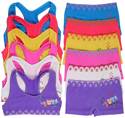 (ToBeInStyle Girls' Pack of 6 Set of Matching Bras & Boyshorts (Large (Ages 12-14), Love Owls))
