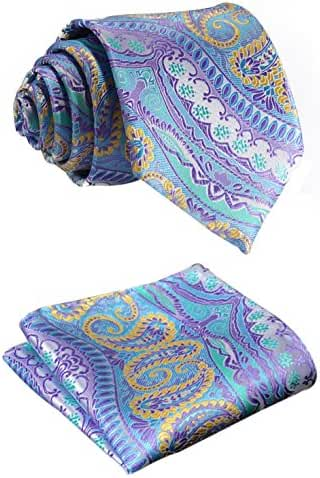 SetSense Men's Floral Paisley Jacquard Woven Tie Necktie Set