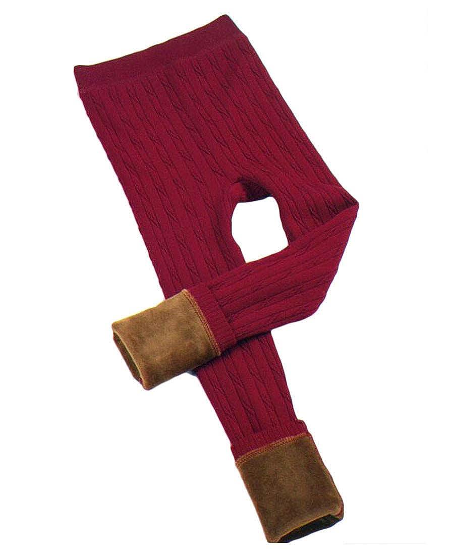 Hajotrawa Girl Knit Fashion Trousers Warm Comfortably Fleece Legging