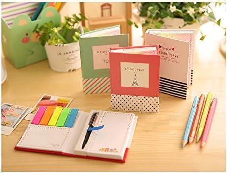 oyfel Notizbücher mit Sticky Notes Memo Notizen Stifte Cube Cute Cartoon Muster für Studenten Büro mit einem doppelseitigem Klebeband 2