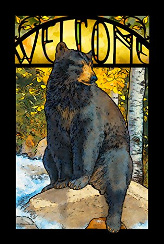 (The Black Bear Paws Advertising Stained Glass Art by Lee)