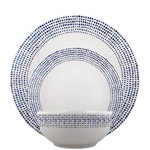 Melange Coupe 18-Piece Porcelain Dinnerware Set | Blue Dots Collection | Service for 6 | Microwave, Dishwasher & Oven Safe | Dinner Plate, Salad Plate & Soup Bowl (6 Each) ()