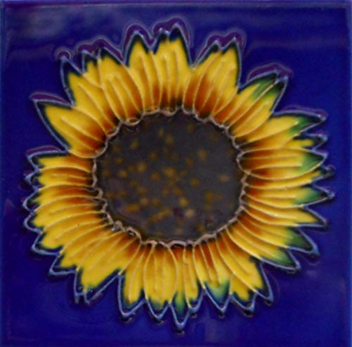(Sunflower Ceramic Art Tile Coaster with Easel Back 4 x 4 inches)