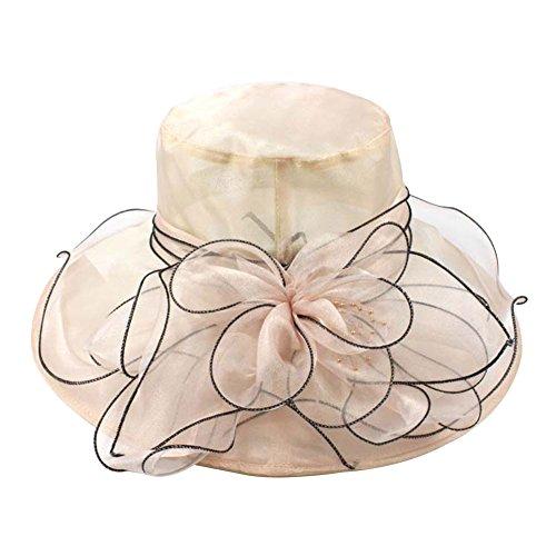 Vintage Sparkling Wine - Ladies Hat,Starlit Elegant Women Wedding Party Vintage Cap Wide Brim Sun Hat (Champagne)