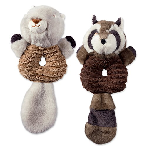 Noise, Squeaking Ring Body Dog Toy, 2 Piece Lucy Squirrel & Sophie Raccoon Woodland Friends Pet Toy for Small, Medium and Large Dogs (Lucy Pet Bowls)