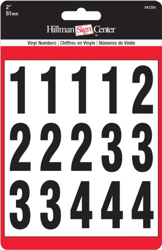 The Hillman Group 842284 Numbers Kit, Black/White, 2-Inch (Self Stick Numbers compare prices)