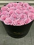 Pink Preserved roses in Elegant Black box