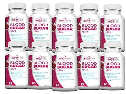 Health Labs Nutra Blood Sugar Ultra – Supports Healthy Blood Sugar Levels, Cardiovascular Health, Strengthens Immune System – Pack of 10
