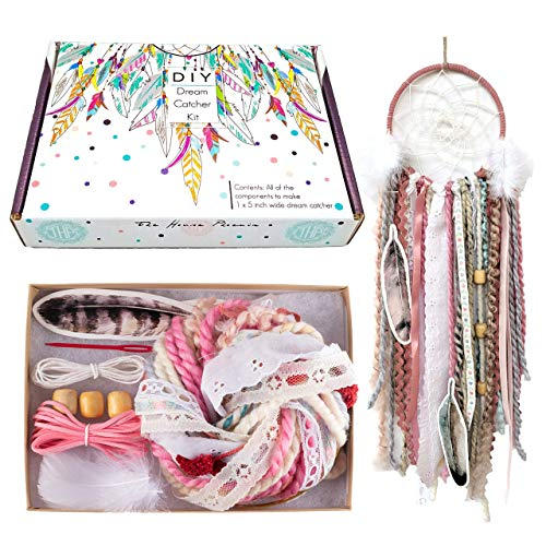 DIY Dream Catcher Kit for Kids Pink Arts and Crafts Kit Make Your Own Dreamcatcher Kit Stocking Stuffer Christmas Gift for Girls from The House Phoenix