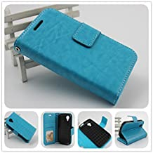 For BLU Dash C Music D380U / D380L and BLU Dash Music Jr D390 PERFECT FIT Luxury Leather Wallet Case with ID Showing Window (Blue)