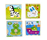 Blackcell 4-Pack Wooden Kids Children Jigsaw Education And Learning Puzzles Toys,Highest Quality Materials,Fit For 1-3 Years Baby,Training Kids Imagination,Non-toxic Paints(random style)