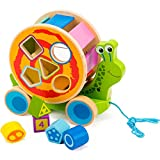 cossy Wooden Shape Sorter Pull Toy - Wooden Snail Puzzle for Toddler Learning Walk-A-Long Push & Educational Toy for 1 Year Old