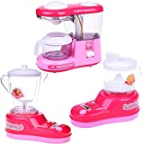 FUN LITTLE TOYS Play Kitchen for Kids, Pretend Kitchen Toy Set for Girls Toddlers Includes Coffee Maker, Juice Extractor, Blender with Light and Sound 6 Batteries Included