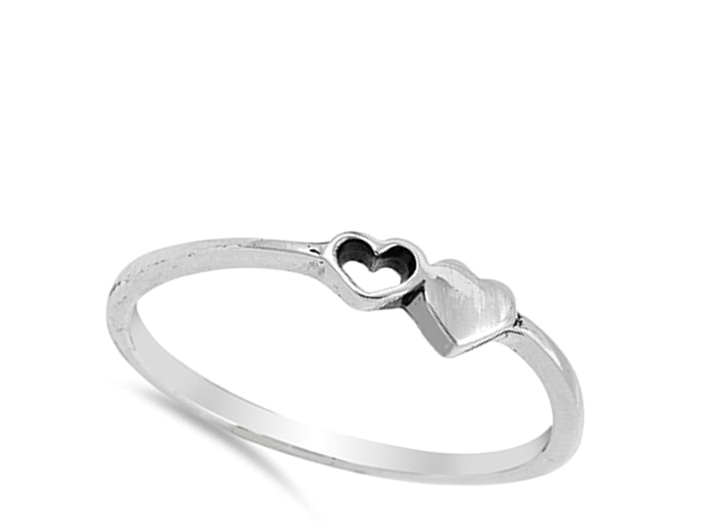 Cutout Heart Purity Promise Dainty Ring New .925 Sterling Silver Band Sizes 4-10