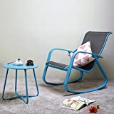 Grand patio Rock Chair Gliders and Round Bistro Table,2 Pieces,Wide Aluminum Steel Frames,for Garden|Indoor|Outside,Color Blue For Sale