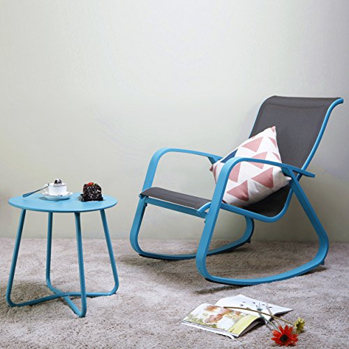 Grand patio Rock Chair Gliders and Round Bistro Table,2 Pieces,Wide Aluminum Steel Frames,for Garden|Indoor|Outside,Color Blue